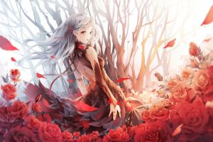 flowers dress rose lifting skirt trees