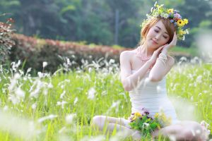 flowers model jewelry women field asian closed eyes photography