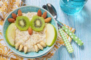 food colorful owl spoon apples kiwi (fruit) oatmeal fruit nuts breakfast