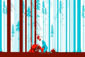 forest digital art tom haugomat trees illustration artwork