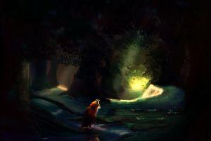 fox fantasy art trees illustration dark forest skysurie painting animals digital art