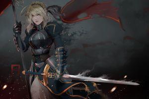 frag ment anime girls armored fantasy girl blonde sword anime fate/zero