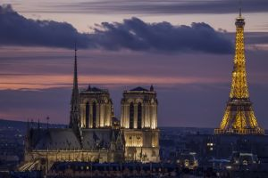 france notre-dame building clouds eiffel tower house sunset evening capital paris architecture cathedral