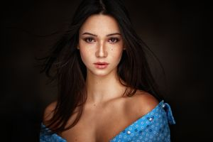 freckles portrait brown eyes dark background cleavage brunette mariya volokh women long hair georgy chernyadyev bare shoulders model looking at viewer