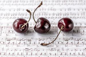 fruit cherries food musical notes