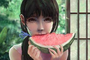 fruit food watermelons anime girls eating anime anime girls
