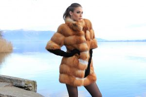 fur coats open mouth black gloves looking into the distance fur model brunette women glamour women glamour hands on hips women outdoors standing