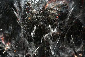 futuristic armor science fiction armor dark machine digital art fantasy men red eyes futuristic
