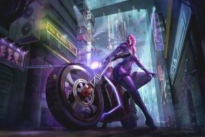 futuristic artwork futuristic city women motorcycle vehicle