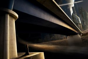 futuristic bridge science fiction monks space futuristic city