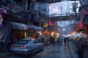 futuristic digital art city cyber science fiction cyberpunk