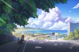 girls frontline squatting dappled sunlight sky road fence trees suitcase clouds