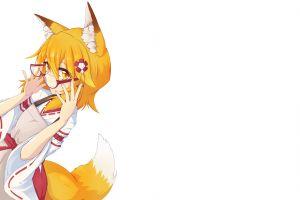 glasses kitsunemimi  anime girls sewayaki kitsune no senko-san simple background animal ears anime