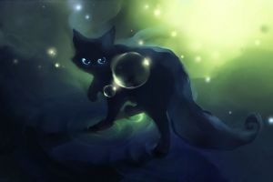 glowing eyes cats bubble graphic design