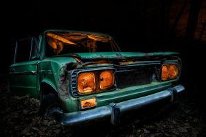 green cars vehicle wreck car dark