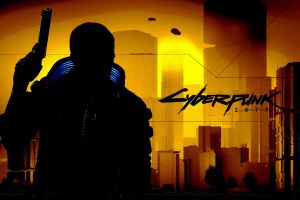 gun cd projekt red numbers cyberpunk yellow background silhouette futuristic weapon cyberpunk 2077 video games
