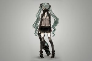 gun simple background thigh-highs jacket anime girls weapon vocaloid green eyes hatsune miku green hair twintails gas masks skirt long hair zettai ryouiki