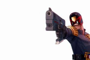 gun simple background white background weapon judge dredd