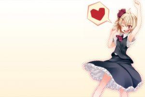 hair bows anime girls rumia short hair blonde skirt shirt simple background brown eyes touhou heart