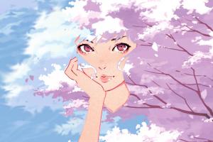 hand on face digital art trees women cherry blossom ilya kuvshinov sky