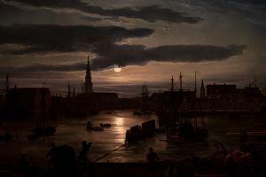harbor clouds copenhagen shipyard moonlight
