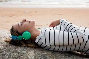 headphones closed eyes metart magazine women outdoors brunette dominika jule striped clothing women metart