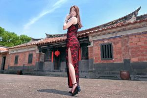 high cut dress brunette heels red dress asian women model feet women outdoors long hair looking over shoulder