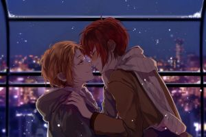 high view cold yaoi ensemble stars anime blushing lights night redhead scarf city closed eyes anime boys smile