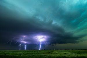 horizon clouds lightning field storm nature landscape