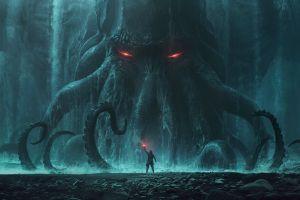 horror creature dark digital art red eyes cthulhu flares h. p. lovecraft artwork