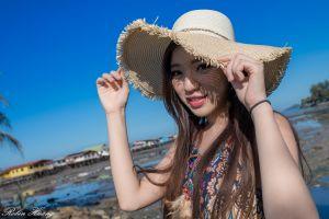 house straw hat model brunette long hair asian women kiki hsieh