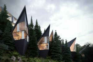 house window clouds nature pine trees dolomites (mountains) modern building trees architecture stone forest