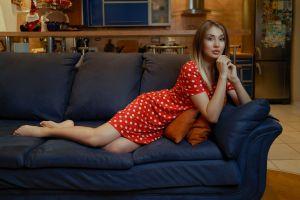 in sofa andrew filonenko dress women model women indoors barefoot legs lying on side