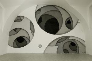 interior illusion jan kaláb painting abstract galleries arch wall artwork czech republic monochrome art installation