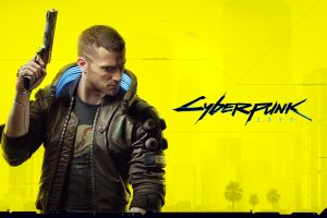 jacket science fiction beards looking away numbers gun short hair men cyberpunk logo video games weapon cyberpunk 2077 yellow background