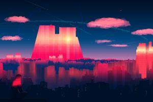 joeyjazz digital art artwork sky clouds cityscape