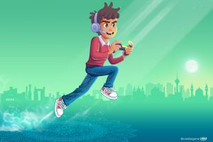 jumping game logo converse character design  video games headsets gamepad