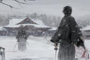 katana japan snowing samurai snow winter fantasy art kimono