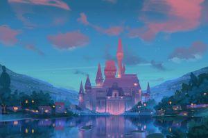 lake sky castle fantasy art artwork