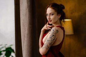 lamp ilya pistoletov portrait brunette sideboob painted nails women blue eyes tattoo darya stefanova