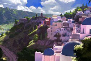 landscape artwork town