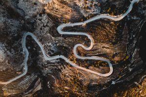 landscape bird's eye view hairpin turns road