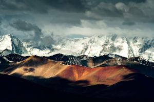 landscape clouds hills nature mountains