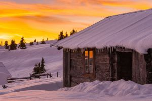landscape house clouds winter trees icicle sunrise snow fence cabin nature