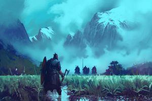 landscape medieval artwork mountains