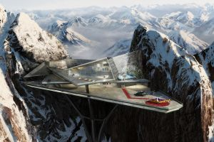 landscape mountains architecture snowy mountain digital art stark industries modern helicopter car futuristic snow
