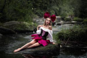 legs forest depth of field barefoot arm support miniskirt water corset model river rocks blouses bare shoulders women outdoors