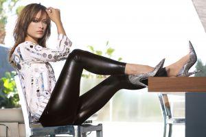 legs women blue eyes olivia wilde leather pants  leather leggings actress long hair heels