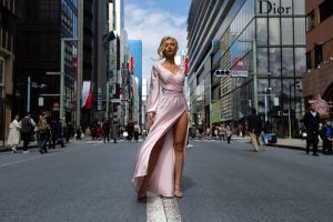 legs women city blonde viktoria apanasenko dress fashion
