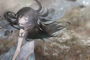 light effects anime grass blue eyes black hair wind